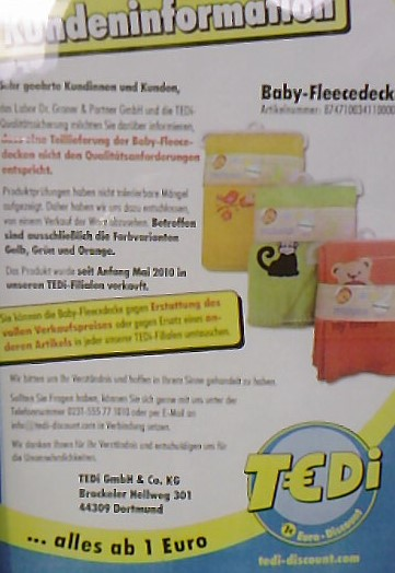 r ckruf azofarbstoffe in baby fleecedecken von tedi cleankids magazin. Black Bedroom Furniture Sets. Home Design Ideas