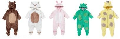 Mothercare informiert, dass die unten abgebildeten Kleidungsstücke NICHT im Bettchen getragen werden dürfen