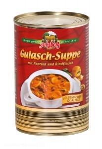 """Die Gulasch-Suppe von Amsberg Feinkost soll laut Werbeaussage """"Hausmacherqualität - nach guter alter Art"""" bieten. Doch zu finden ist darin Mononatriumglutamat. - Foto: ÖKO-TEST"""