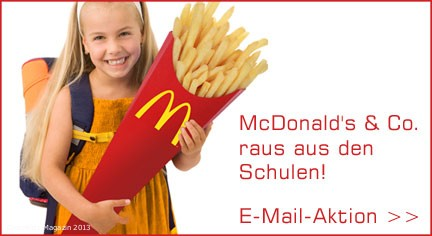 foodwatch fordert:  McDonald's & Co. raus aus der Schule! - Bild: foodwatch