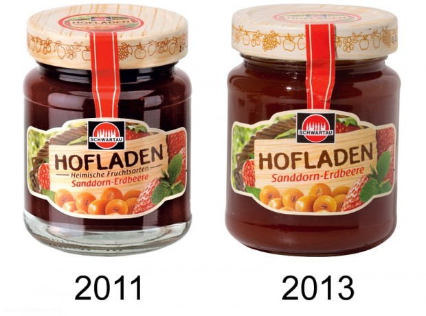 """Foto: ÖKO-TEST Es geht auch besser: Nach der ersten Untersuchung von ÖKO-TEST hat Schwartau den Zusatz """"heimische Früchte"""" vom Etikett der Hofladen Sanddorn-Erdbeere-Marmelade gestrichen, denn die Früchte stammten unter anderem aus Polen, dem Baltikum und Südosteuropa."""