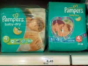 Pampers Baby-Dry, Größe 4: links die neue Variante mit 31 Windeln, rechts die alte Packung mit 34 Windeln – beide zum Preis von 8,45 Euro
