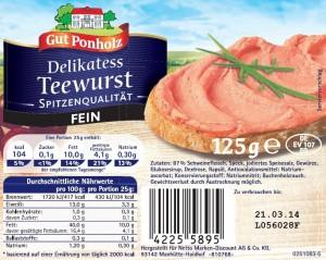 Regionaler Warenrückruf von Delikatess Teewurst