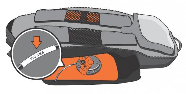 """Betroffen sind lediglich die Klettverschlüsse jener ABS-eigenen Vario-Rucksäcke (sog. """"ABS Vario Base Units""""), die in der Saison 2011/12 produziert wurden und deren Seriennummern mit 612 oder 712 beginnen. Die Seriennummer kann am Kabel neben der Füll- und Ablasseinheit abgelesen werden. Foto: ABS Avalanche Airbag"""