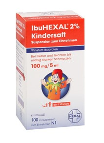 IbuHEXAL® 2 % Kindersaft IbuHEXAL® 2 % Kindersaft, IbuHEXAL® 4 % Kindersaft: Wirkstoff: Ibuprofen. Anwendungsgebiete: IbuHEXAL 2 % Kindersaft: Leichte bis mäßig starke Schmerzen und Fieber. IbuHEXAL 4 % Kindersaft: Leichte bis mäßig starke Schmerzen, wie Kopfschmerzen und Zahnschmerzen, und Fieber. Zu Risiken und Nebenwirkungen lesen Sie die Packungsbeilage und fragen Sie Ihren Arzt oder Apotheker! Mat.-Nr.: 2/51002163 Stand: Januar 2011 Hexal AG, 83607 Holzkirchen, http://www.hexal.de