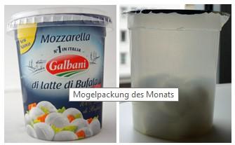 """Nur 150 Gramm Käse gibt es beim Mozzarella di latte di Bufala der Marke Galbani – und das trotz Riesenbecher. Ohne Banderole erkennt man das """"ganze Elend"""" - ild Nur 150 Gramm Käse gibt es beim Mozzarella di latte di Bufala der Marke Galbani – und das trotz Riesenbecher. Ohne Banderole erkennt man das """"ganze Elend""""Bild: Verbraucherzentrale Hamburg - www.vzhh.de"""