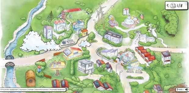 Auf dem Entdeckercampus gibt es viel zu erforschen. Der Campusplan mit den beiden neuen Spielen ist die Einstiegsseite der Fraunhofer-Kinderwebsite. © Fraunhofer