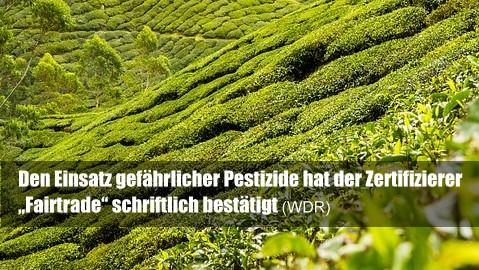 """Den Einsatz gefährlicher Pestizide hat der Zertifizierer """"Fairtrade"""" schriftlich bestätigt:"""