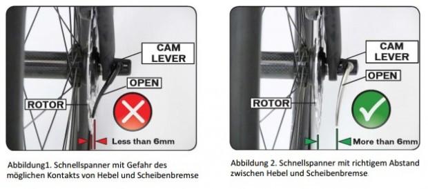 Rückruf: Verschiedene Hersteller rufen Räder mit vorderen Scheibenbremsen und Schnellspannern zurück