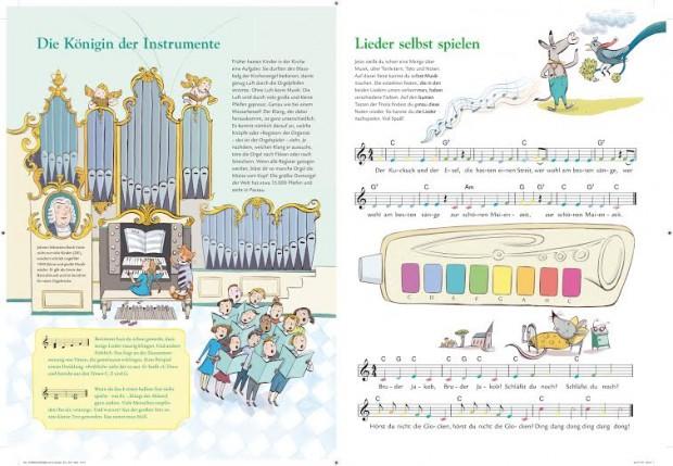 Einfach mit der Kamera des Gerätes über die liebevoll illustrierten Buchseiten fahren und schon werden Tonleitern und einzelne Instrumente angespielt