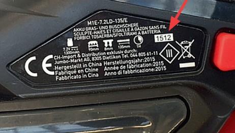 Chargennummer ist auf diesem Etikett zu finden