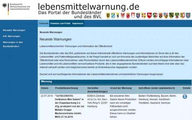 Screenshot des Portals der Bundesländer lebensmittelwarnung.de