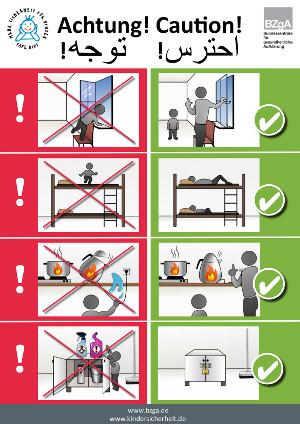 Poster für Flüchtlingsunterkünfte weist auf Unfallgefahren für Kinder hin