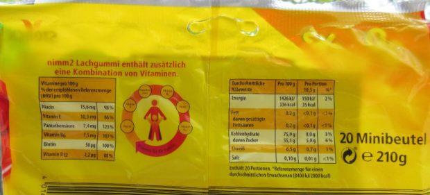 Schöngerechnet: Portionsangaben der Nimm 2 Lachgummis mit Fruchtsaft und Vitaminen - Bild: ÖKO-TEST