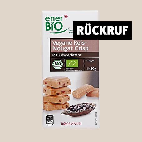 Rückruf: Glassplitter – ROSSMANN ruft enerBiO Vegane Reis-Nougat Crisp zurück