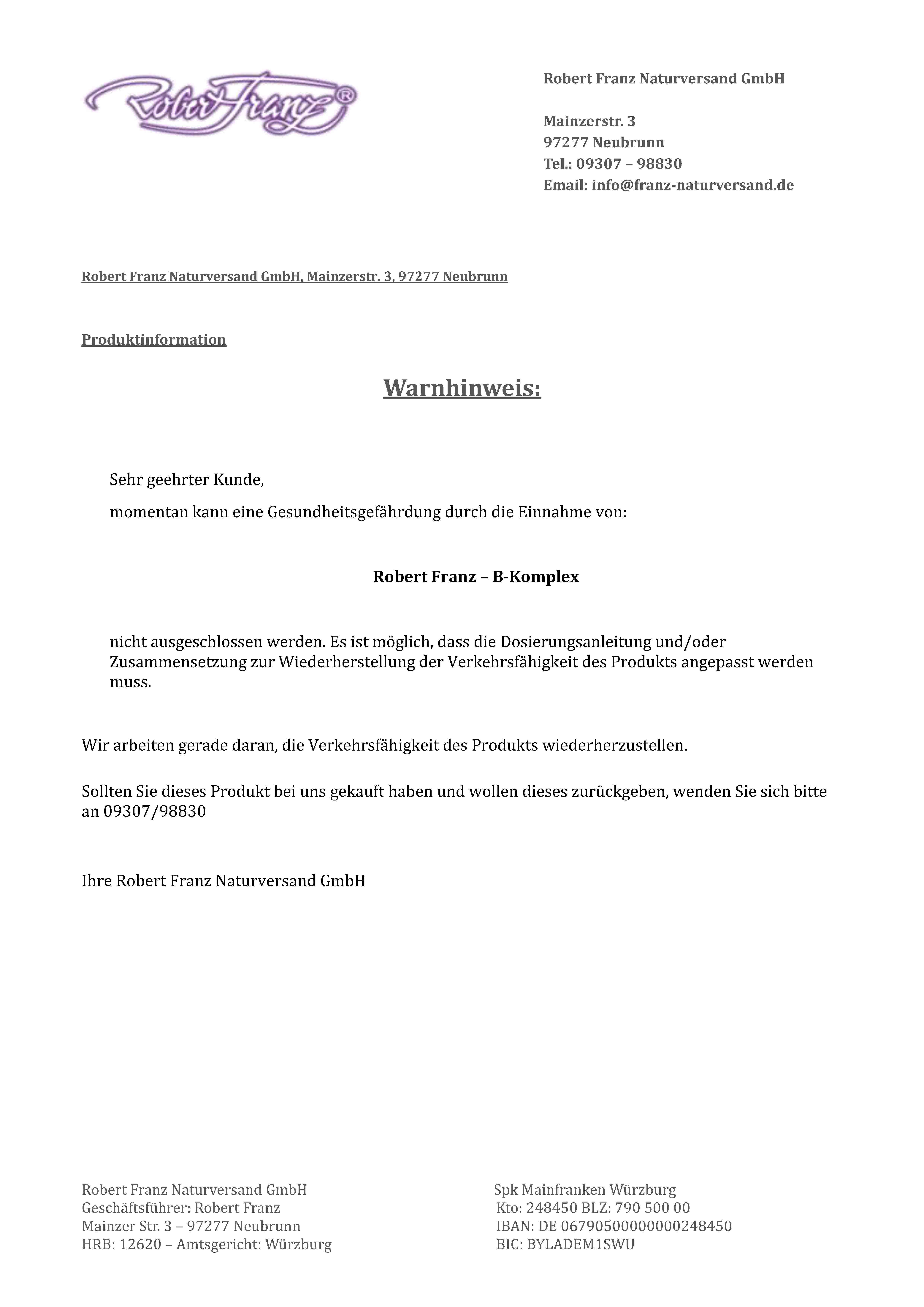 3bac2c289132d5 Rückruf  Behörde warnt vor Nahrungsergänzungsmittel der Robert Franz ...