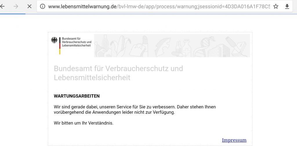 Abbildung: Screenshot lebensmittelwarnung.de / cleankids