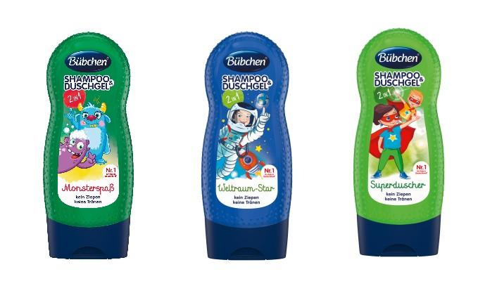 """Die neuen Bübchen-Kinderpflege-2-in-1-""""Shampoo & Duschgel""""-Produkte mit den neuen Geschichten """"Monsterspaß"""", """"Weltraum-Star"""" und """"Superduscher"""" in der Größe 230 ml sind seit April erhältlich. Bild:Bübchen Vertriebs GmbH"""